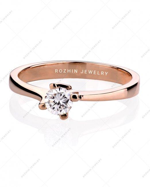 انگشتر کد 1576 ~ انگشتر سولیتر رز گلد مزین به تخمه الماس پاک و درجه یک